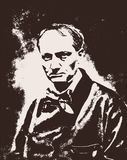 Vector portrait of the famous french poet and author of The Flowers of Evil Charles Baudelaire royalty free stock photos