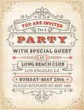Vector High Quality Party invitation. An high detail grunge vintage Invitation Template to a party or celebration Royalty Free Stock Photography