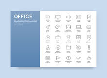 Vector High Qulaity Office Outline Icons Set Royalty Free Stock Photo
