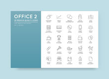 Vector High Qulaity Office Outline Icons Set Stock Photography