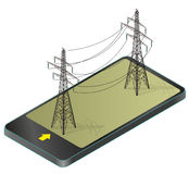 Vector high voltage pylons in mobile phone, isometric perspective. 3d metal pole voltage, isolated background. Power line pylons communication technology Stock Photos