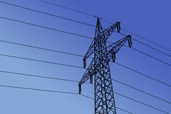 Vector high voltage towers with sky background. Royalty Free Stock Image