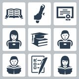 Vector higher education icons set Stock Photography