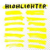 Vector highlighter brush line strokes Royalty Free Stock Photos