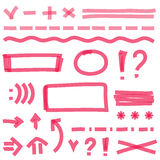 Vector highlighter elements, hand drawing Stock Photography