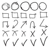 Vector highlighter elements, imitation of hand drawn circles, frames and arrows. Stock Image