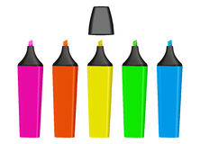 Vector Highlighters. Colorful highlighter pens isolated over a white background. Vector file available vector illustration