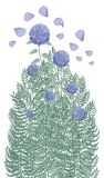 A beautiful bush of purple hydrangeas and various garden herbs stock illustration