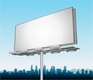Vector highway ad billboard roadside. Highway ad billboard roadside with cityscape in background Royalty Free Stock Photography