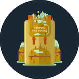 Vector Hiking backpack. Conceptual illustration for web, a hike in the woods and Hiking. Vector graphics Stock Image