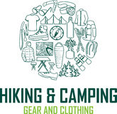 Vector hiking and camping gear logo emblem Royalty Free Stock Photography