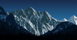 Vector Himalayan mountain landscape. Lhotse - south face view from Everest Base Camp Trek. Sagarmatha National Park, Nepal vector illustration