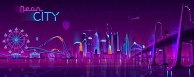 Vector hinged bridge to amusement park royalty free illustration