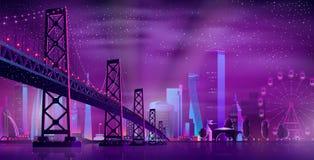 Vector hinged bridge to amusement park stock illustration
