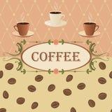 Vector Hintergrund auf einem Kaffeethema in der Weinleseart Lizenzfreies Stockfoto