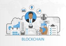 Vector Hintergrund des Geschäftsmannes und der Ikonen für blockchain Konzept Lizenzfreies Stockbild