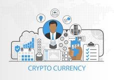 Vector Hintergrund des Geschäftsmannes und der Ikonen für cryptocurrency Konzept Lizenzfreie Stockbilder