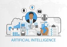 Vector Hintergrund des Geschäftsmannes und der Ikonen für Konzept der künstlichen Intelligenz Stockbild
