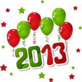 Vector Hintergrund des neuen Jahres mit Ballonen und Sternen stock abbildung