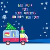 Vector Hintergrund, frohe Weihnachten und guten Rutsch ins Neue Jahr-Text Hous Stockbilder