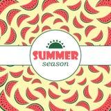 Vector Hintergrund mit Hand gezeichneter Wassermelone und beschriften Sie Sommersaisonhintergrund Stockbilder