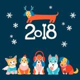 Vector Hintergrund mit netten Karikaturwelpen im warmen Winterstoff Stockfoto