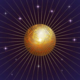 Vector Hintergrund mit Planeten, Stern und Strahlen Stockbilder