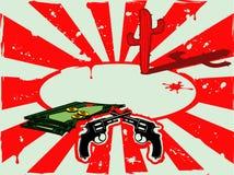 Vector Hintergrund mit Revolvern, Geld und Kaktus in der Wüste Stockbilder