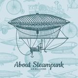 Vector Hintergrund mit steampunk Hand gezeichneten Luftschiffen, Luft baloons, Fahrrädern und Autos mit Platz für Text stock abbildung