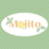Vector Hintergrund mit Typografie Mojito und Hand gezeichneter Minze und Kalk Stockfotografie