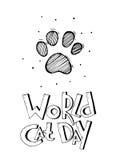 Vector Hintergrund mit Wörter Weltkatzentag und Hand gezeichnete Karikaturschwarzweiss-Tatze einer Katze Kann als Liebe verwendet Lizenzfreie Stockfotografie