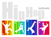 Vector hip-hop silhouette on abstract background. No transparency and effects (EPS 8v Stock Photo