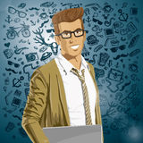 Vector Hipstar Man With Laptop in His Hands Stock Photography