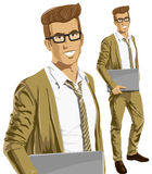 Vector Hipstar Man With Laptop in His Hands Stock Image