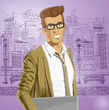 Vector Hipstar Man With Laptop in His Hands Stock Photo