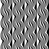 Vector hipster abstract geometry trippy pattern with stripes , black and white seamless geometric background. Subtle pillow and bad sheet print, creative art Royalty Free Stock Photos