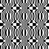 Vector hipster abstract psychadelic geometry trippy pattern with 3d illusion, black and white seamless geometric background Royalty Free Stock Photo