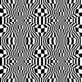 Vector hipster abstract psychadelic geometry trippy pattern with 3d illusion, black and white seamless geometric background. Subtle pillow and bad sheet print royalty free illustration