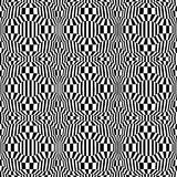 Vector hipster abstract psychadelic geometry trippy pattern with 3d illusion, black and white seamless geometric background. Subtle pillow and bad sheet print stock illustration