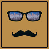 Vector hipster background with mustaches and glasses. Vector abstract hipster background with mustaches and glasses Stock Photo