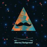 Vector hipster background with triangle and mustaches. Vector abstract hipster background with triangle and mustaches Royalty Free Stock Images