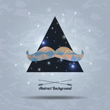 Vector hipster background with triangle and mustaches. Vector abstract hipster background with triangle and mustaches Stock Image