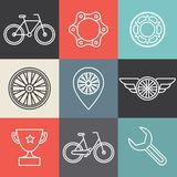 Vector hipster bicycle logo templates. Set of outline icons Royalty Free Stock Images