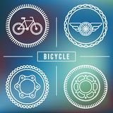 Vector hipster bicycle logo templates. Set of outline icons Stock Photography