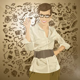 Vector Hipster Business Woman Writing Something Royalty Free Stock Images