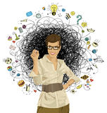 Vector Hipster Business Woman Writing Something. Idea concept. Vector Business woman writing something Royalty Free Stock Photo