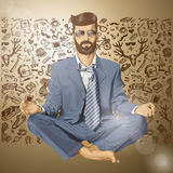 Vector Hipster Businessman in Lotus Pose Meditatin Stock Photos