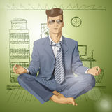 Vector Hipster Businessman in Lotus Pose Meditatin Royalty Free Stock Photo