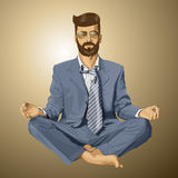 Vector Hipster Businessman in Lotus Pose Meditating Royalty Free Stock Image