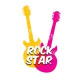 Vector hipster cartoon retro label rock star. Royalty Free Stock Image